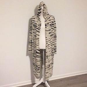 Autumn Cashmere Blk/Wht Hooded Duster/Cardigan!!